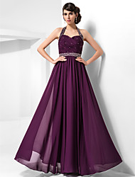 cheap -Sheath / Column Halter Floor Length Chiffon Prom / Formal Evening Dress with Beading Criss Cross by TS Couture®