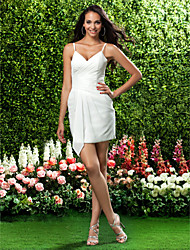 cheap -Sheath / Column V Neck / Spaghetti Strap Short / Mini Chiffon Bridesmaid Dress with Criss Cross by LAN TING BRIDE®