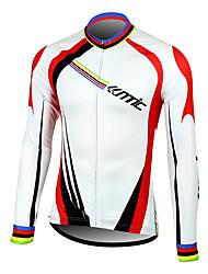 billige -SANTIC Herre Langærmet Cykeltrøje - Hvid Cykel Trøje, Hold Varm, Hurtigtørrende, Åndbart