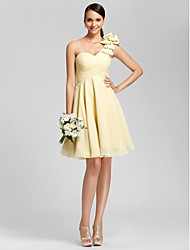 A-Line Princess One Shoulder Sweetheart Knee Length Chiffon Bridesmaid Dress with Beading Bow(s) Draping Criss Cross by LAN TING BRIDE®