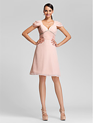 cheap -A-Line Princess V Neck Knee Length Chiffon Bridesmaid Dress with Beading Ruched Side Draping by LAN TING BRIDE®