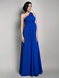 Tubinho Assimétrico Longo Cauda Watteeau Chiffon Evento Formal Festa de Casamento Vestido com Pregueado Cruzado de TS Couture®