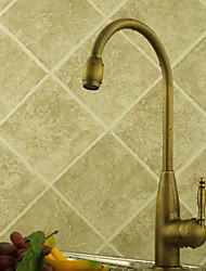 cheap -Antique Tall/­High Arc Deck Mounted Rotatable Ceramic Valve One Hole Single Handle One Hole Antique Brass, Kitchen faucet