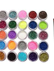 preiswerte -25 Farben Glitter Puder-Nagel-Kunst-Dekorationen mit einem Pinsel