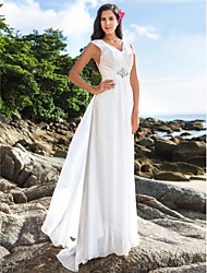 cheap -Sheath / Column V-neck Floor Length Chiffon Wedding Dress with Crystal Ruche by LAN TING BRIDE®