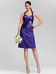 Sheath / Column Sweetheart Straps Knee Length Stretch Satin Bridesmaid Dress with Criss Cross Ruching Crystal Brooch by LAN TING BRIDE®