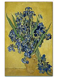Vaso di Iris su sfondo giallo, c.1890 di Vincent Van Gogh famoso Stampa trasferimenti su tela
