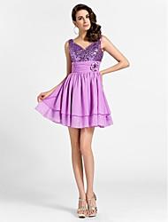 Princesa Decote V Curto / Mini Chiffon Paetês Coquetel Baile de Fim de Ano Vestido com Flor(es) Franzido de TS Couture®