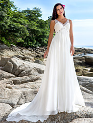 cheap -A-Line V Neck Chapel Train Chiffon Made-To-Measure Wedding Dresses with Beading / Sequin by LAN TING BRIDE® / See-Through