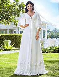 Fourreau / Colonne Encolure plongeante Longueur Sol Mousseline de soie Robe de mariée avec Billes par LAN TING BRIDE®