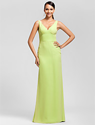 Sheath / Column V-neck Floor Length Chiffon Bridesmaid Dress with Side Draping by LAN TING BRIDE®