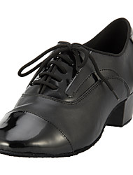 Men's Dance Shoes Ballroom/Modern Leather Heel Black Customizable
