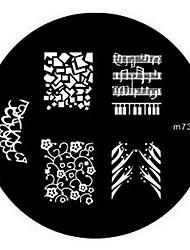 billige -4stk Smuk Negle kunst Manicure Pedicure Metal Blomst / Abstrakt / Klassisk Daglig / Stempling Plate