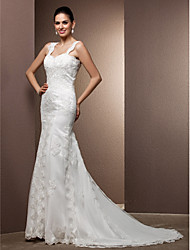 Mermaid / Trumpet Square Neck Court Train Lace Tulle Wedding Dress with Beading Appliques by LAN TING BRIDE®