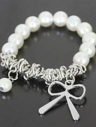 abordables -Silver Bowknot de la perla de la pulsera