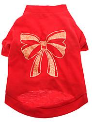 baratos -Cachorro Camiseta Roupas para Cães Laço Vermelho Algodão Ocasiões Especiais Para animais de estimação
