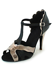 cheap -Women's Latin Shoes / Ballroom Shoes Leatherette Sandal / Heel Buckle Customized Heel Customizable Dance Shoes Black