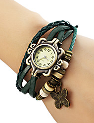 cheap -Women's Butterfly Pendant Leather Band Quartz Analog Bracelet Watch (Assorted Colors) Cool Watches Unique Watches Fashion Watch Strap Watch