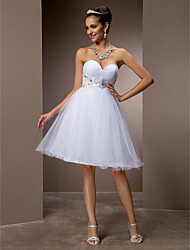 cheap -A-Line Princess Sweetheart Knee Length Tulle Wedding Dress with Beading Appliques Criss-Cross by LAN TING BRIDE®