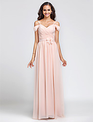 Sheath / Column Spaghetti Straps Off-the-shoulder Floor Length Chiffon Bridesmaid Dress with Draping Flower(s) Sash / Ribbon Criss Cross