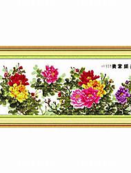 economico -Meian diy peonia modello cotone grezzo 11ct / inch dimensioni panno ricamato punto: 201 * 89 centimetri