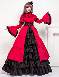 cheap -Medieval Victorian Costume Women's Dress Masquerade Party Costume Vintage Cosplay Lace Cotton Satin Long Sleeves Poet Long Length