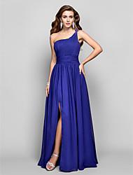 preiswerte -Mantel / Spalte eine Schulter Bodenlänge Chiffon Abendkleid mit Perlen von ts Couture ®