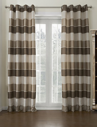 cheap -Mediterranean Two Panels Stripe Brown Living Room Poly  Cotton Blend Panel Curtains Drapes