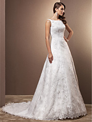 cheap -A-Line Scoop Neck Chapel Train All Over Floral Lace Custom Wedding Dresses with Lace by LAN TING BRIDE®