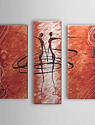 Pintados à mão Pessoas 3 Painéis Tela Pintura a Óleo For Decoração para casa
