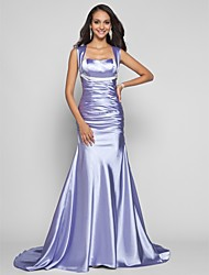 cheap -Mermaid / Trumpet Straps Sweep / Brush Train Stretch Satin Formal Evening Military Ball Dress with Sash / Ribbon Ruching by TS Couture®