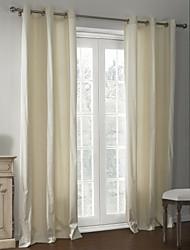 baratos -dois painéis sólida cortina térmica revestimento bege