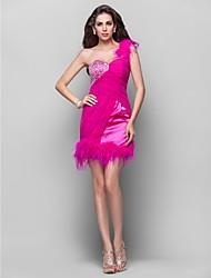 abordables -Une ligne princesse une épaule courte / mini mousseline de soie robe de soirée à manches longues avec perles par ts couture®