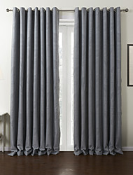Rod Pocket Grommet Top Tab Top Double Pleated Two Panels Curtain Neoclassical , Leaf Polyester Material Blackout Curtains Drapes Home