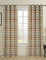 cheap -Rod Pocket Grommet Top Tab Top Double Pleat Two Panels Curtain Country, Jacquard Polka Dot Dining Room Polyester/Cotton Blend Poly /