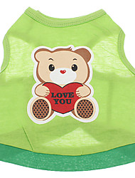 cheap -Dog Shirt / T-Shirt Dog Clothes Breathable Cartoon Green Costume For Pets