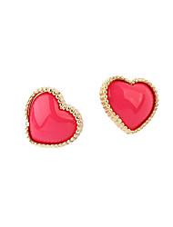 baratos -Brincos Curtos Amor Coração Estilo bonito Zircão Liga Formato de Coração Preto Vermelho Azul Jóias Para Diário