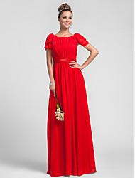 Sheath / Column Square Neck Floor Length Chiffon Bridesmaid Dress with Side Draping Ruffles by LAN TING BRIDE®