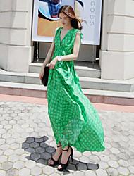 Kvinders Wrap Check Pattern Maxi Dress