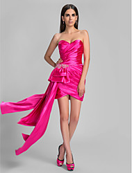 Sheath / Column Sweetheart Asymmetrical Stretch Satin Cocktail Party Holiday Dress with Beading Criss Cross Tassel(s) by TS Couture®