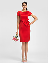 Sheath / Column Jewel Neck Knee Length Satin Bridesmaid Dress with Bow(s) Sash / Ribbon by LAN TING BRIDE®