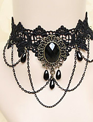 Gioielli Gotico Collane Lolita Nero Accessori Lolita Collane Di pizzo Per Pizzo Gemme artificiali