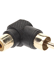 cheap -Right Angle RCA Female to Male Converter Adapter Black