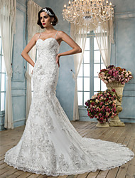 cheap -Mermaid / Trumpet Spaghetti Straps Chapel Train Tulle Custom Wedding Dresses with Beading Appliques by LAN TING BRIDE®