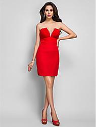Tubinho Decote V Curto / Mini Chiffon Coquetel Vestido com Detalhes em Cristal Franzido de TS Couture®