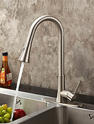 cheap -Contemporary Pull-out/Pull-down Deck Mounted Pullout Spray with  Ceramic Valve Single Handle One Hole for  Nickel Brushed , Kitchen