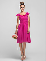 A-Line Princess Scoop Neck Knee Length Chiffon Bridesmaid Dress with Ruffles Side Draping Ruching by LAN TING BRIDE®