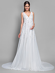A-Line V-neck Court Train Chiffon Lace Wedding Dress with Sequin Appliques by LAN TING BRIDE®