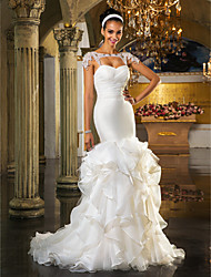 cheap -Sheath / Column Sweetheart Sweep / Brush Train Organza Wedding Dress with Crystal by LAN TING BRIDE®