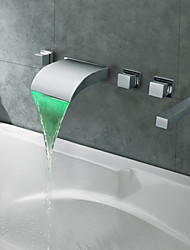 Contemporary Roman Tub Waterfall LED with  Ceramic Valve Five Holes Three Handles Five Holes for  Chrome , Bathtub Faucet